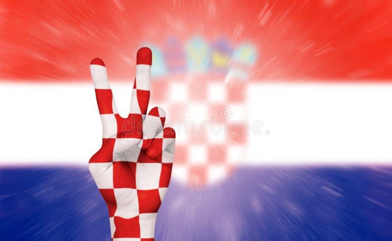 Vitória para a Croácia, comemoração do fan de futebol fotografia de stock royalty free