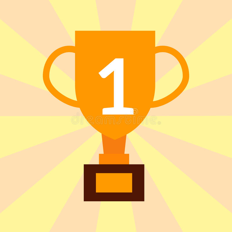 Vitória premiada lisa da concessão do ouro do vencedor do ícone do copo de campeão do troféu do vetor ilustração dourada da compe ilustração royalty free