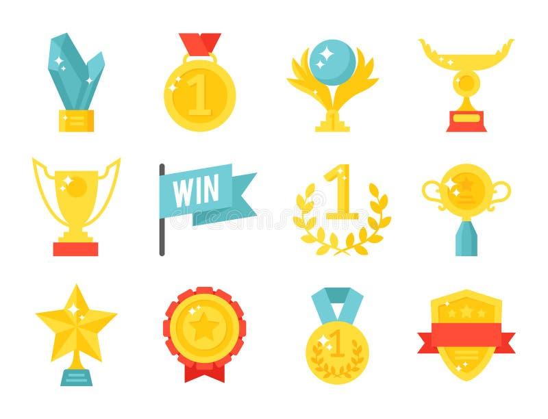 Vitória premiada lisa do sucesso do esporte da concessão do ouro do vencedor do ícone do copo de campeão do troféu do vetor ilust ilustração do vetor