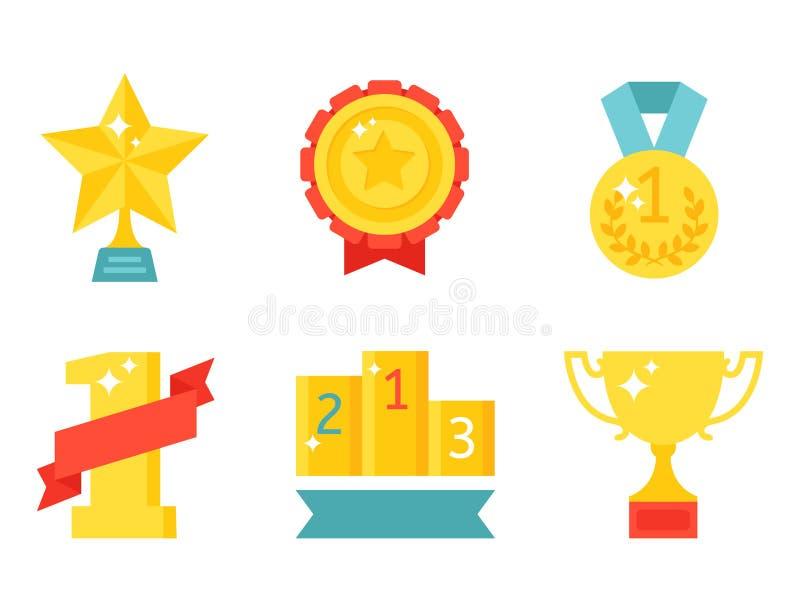 Vitória premiada lisa do sucesso do esporte da concessão do ouro do vencedor do ícone do copo de campeão do troféu do vetor ilust ilustração stock