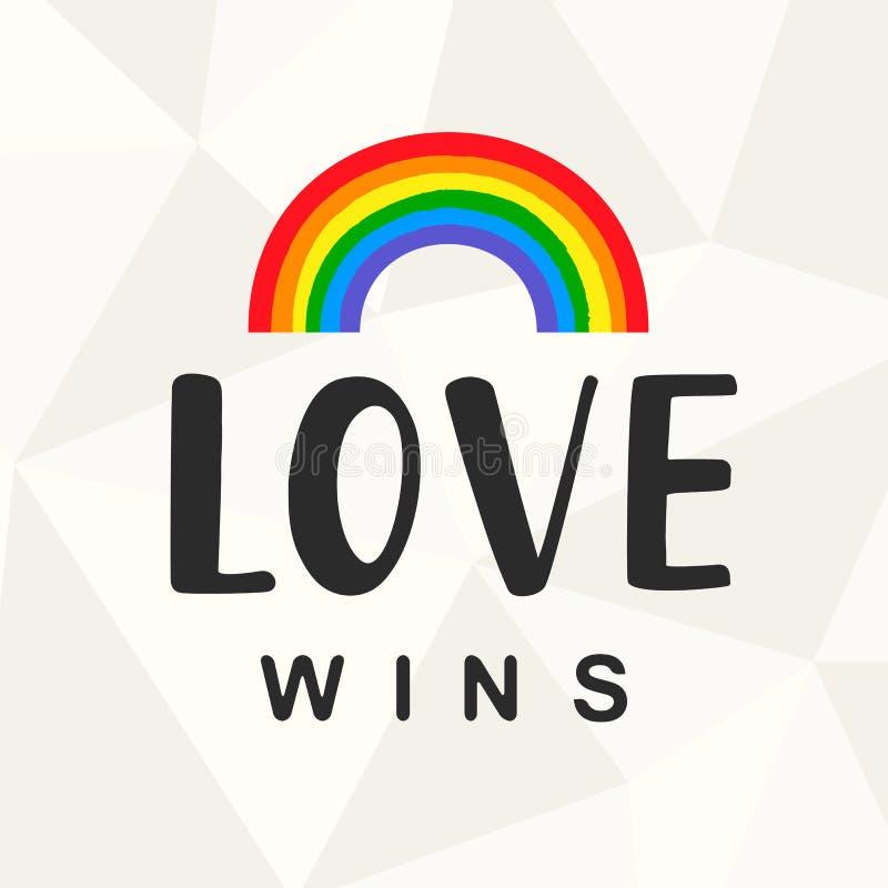 Vitórias do amor Slogan do orgulho alegre com rotulação escrita mão ilustração do vetor
