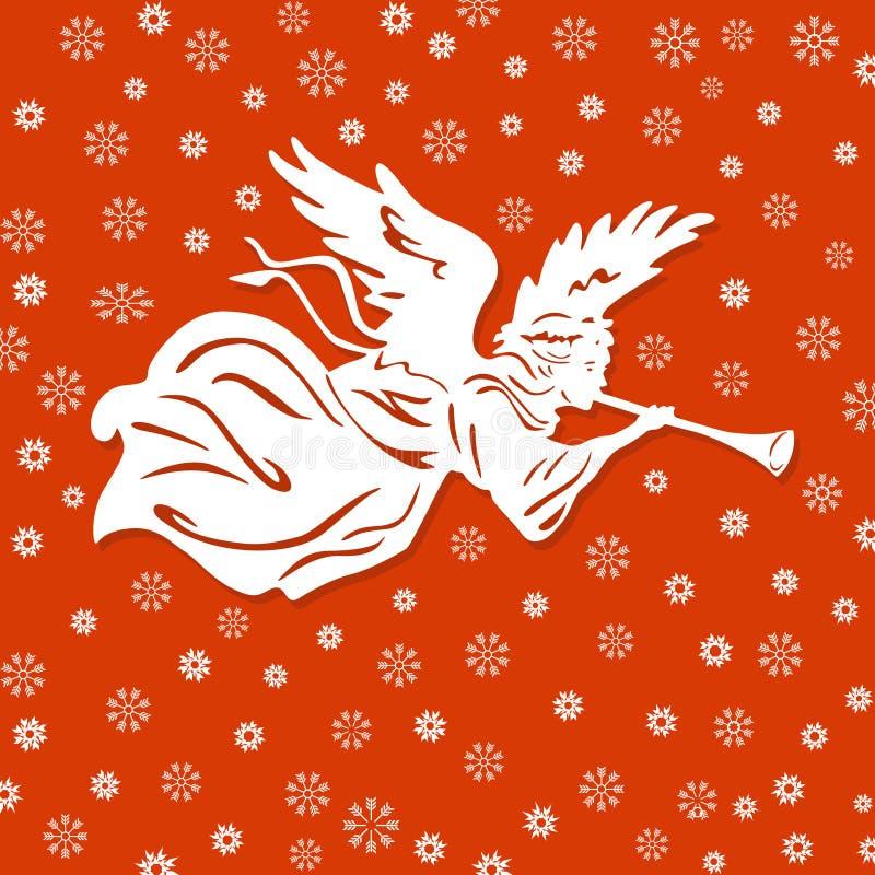 Vit ängel och Snowflakes royaltyfri illustrationer