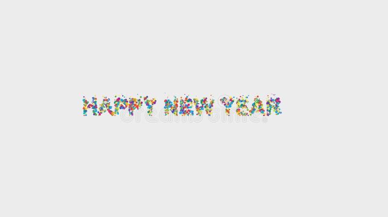 Vit önska för meddelande för bollar för lyckligt nytt år för bakgrund färgrik arkivbilder