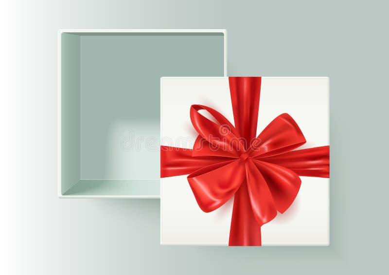 Vit öppen realistisk ask med den röda dekorativa bandpilbågen, gåva, gåva, vektorillustration vektor illustrationer