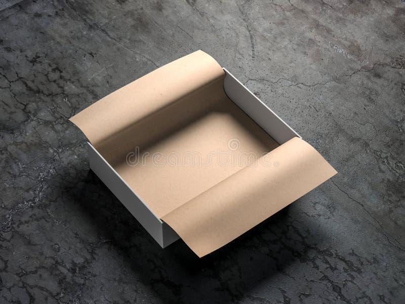 Vit öppnad förpackande modell för gåvaask med kraft inpackningspapper på konkret golv stock illustrationer