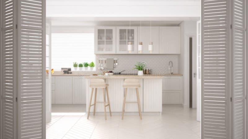 Vit öppning för hopfällbar dörr på modernt scandinavian kök med ön, stolar och hängelampor, kabinetter och tillbehör som är vita royaltyfri illustrationer
