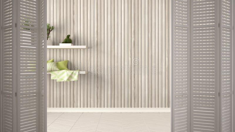 Vit öppning för hopfällbar dörr på tomt rum med träväggen med hyllor, vit inredesign, märkes- begrepp för arkitekt, kopieringssp arkivfoton