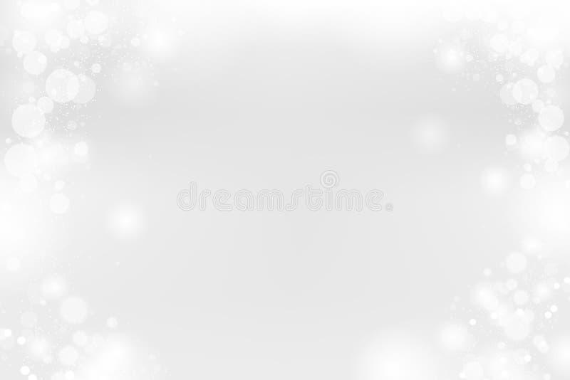 Vit abstrakt bakgrund, försilvrar blänker fallande Bokeh, jul övervintrar den snöig vektorillustrationen royaltyfri illustrationer
