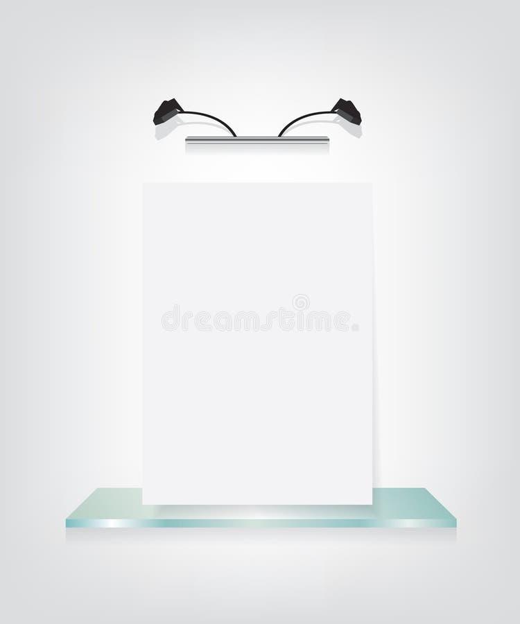 Vit affisch på den glass hyllakonsolen royaltyfri illustrationer
