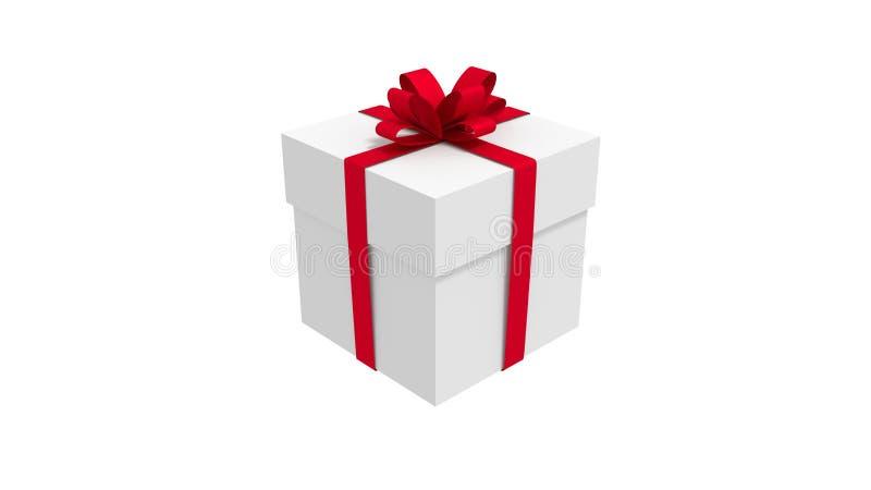 vit ask för gåva som 3d binds med en röd satängbandpilbåge bakgrund isolerad white royaltyfri illustrationer