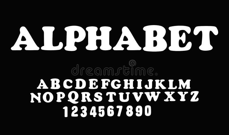 Vit av stilsorten och alfabetet Isolerat på svart bakgrund stock illustrationer