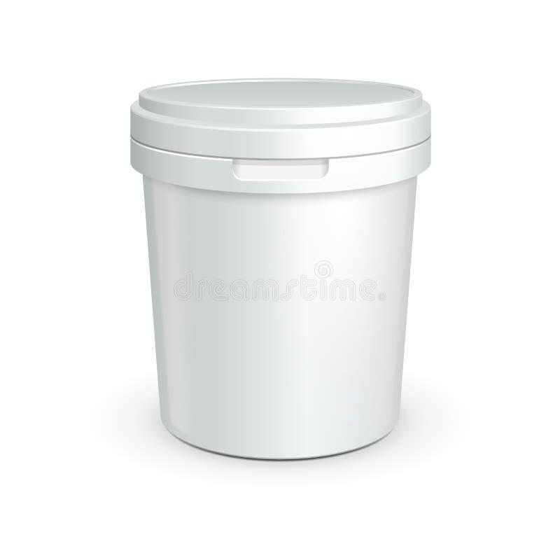 Vit badar den plast- behållaren för mat för efterrätt, yoghurt, glass, gräddfil eller mellanmål Ordna till för din design vektor illustrationer