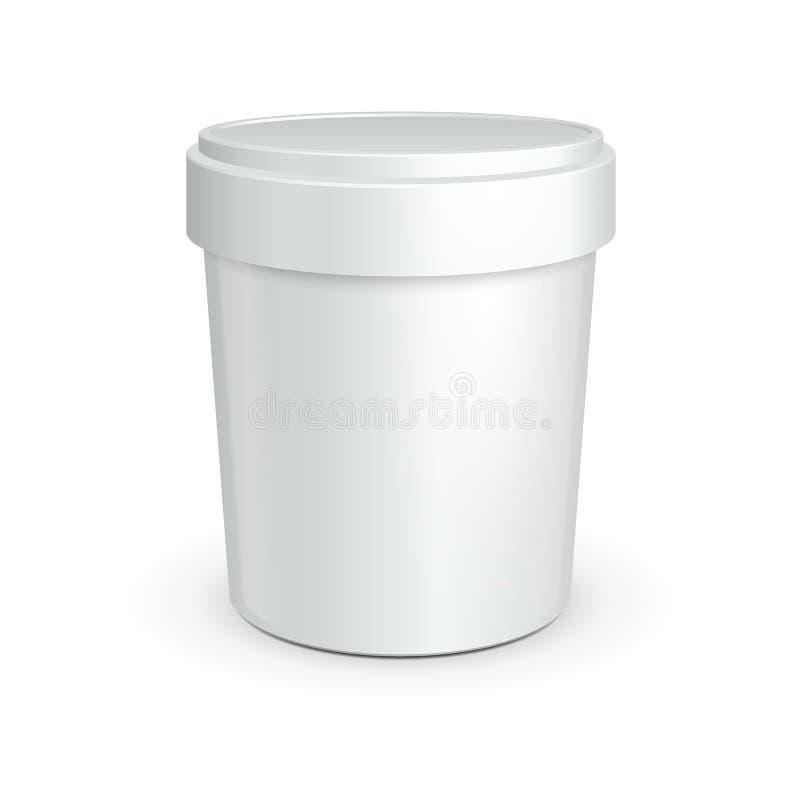 Vit badar den plast- behållaren för mat för efterrätt, yoghurt, glass, gräddfil eller mellanmål vektor illustrationer