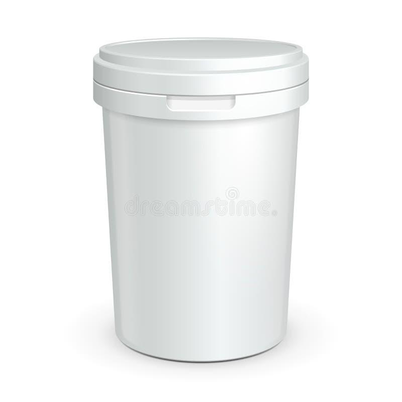 Vit badar den plast- behållaren för mat för efterrätten, yoghurten, glass stock illustrationer