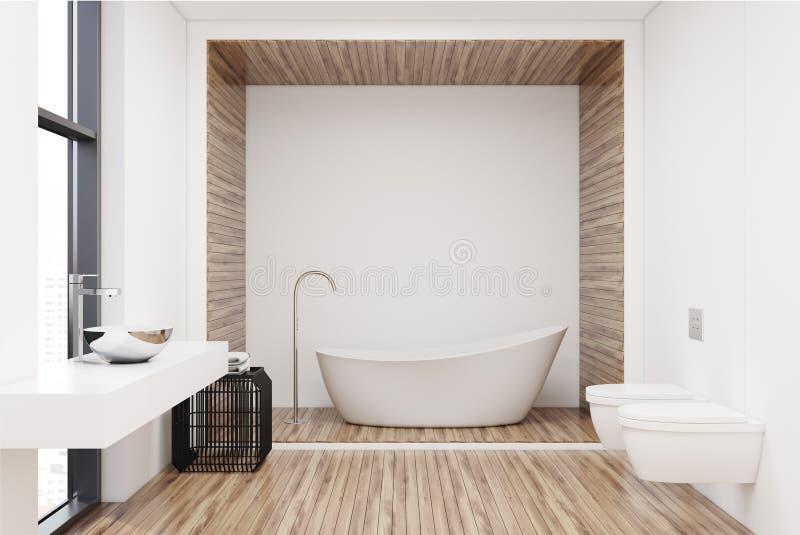 Vit badar i en vit och ett träbadrum royaltyfri illustrationer