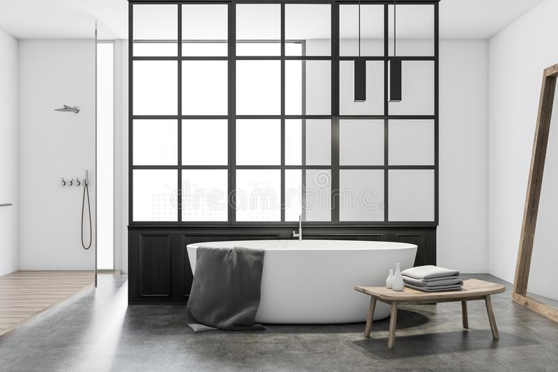 Vit badar i ett modernt badrum, vit royaltyfri illustrationer