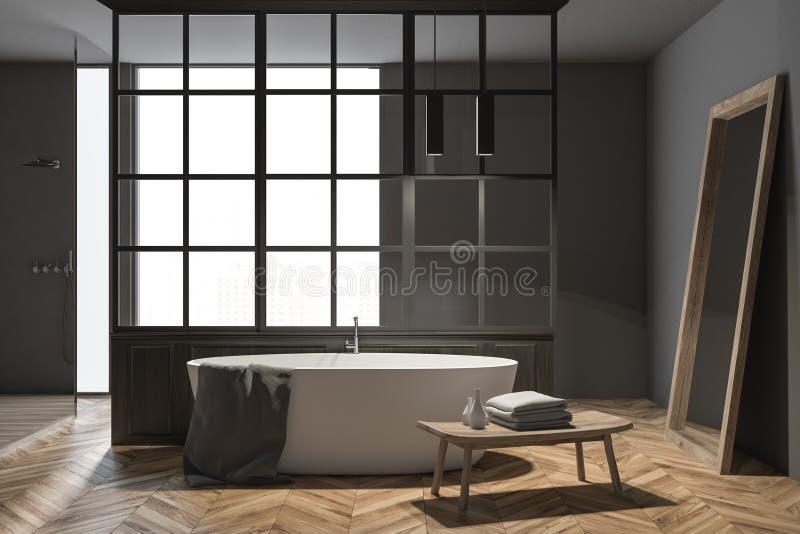 Vit badar i ett modernt badrum, grå färg stock illustrationer