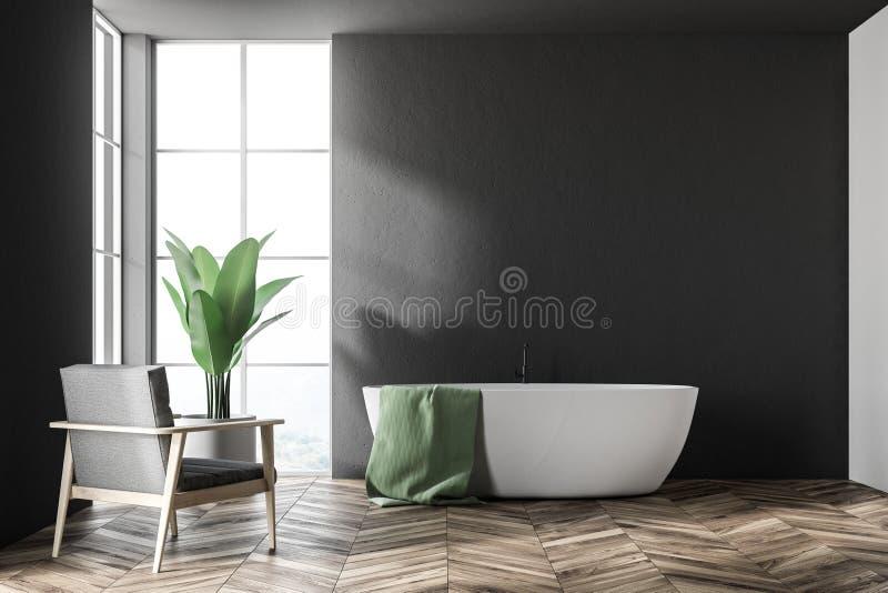 Vit badar i ett svart badrum, fåtölj royaltyfri illustrationer
