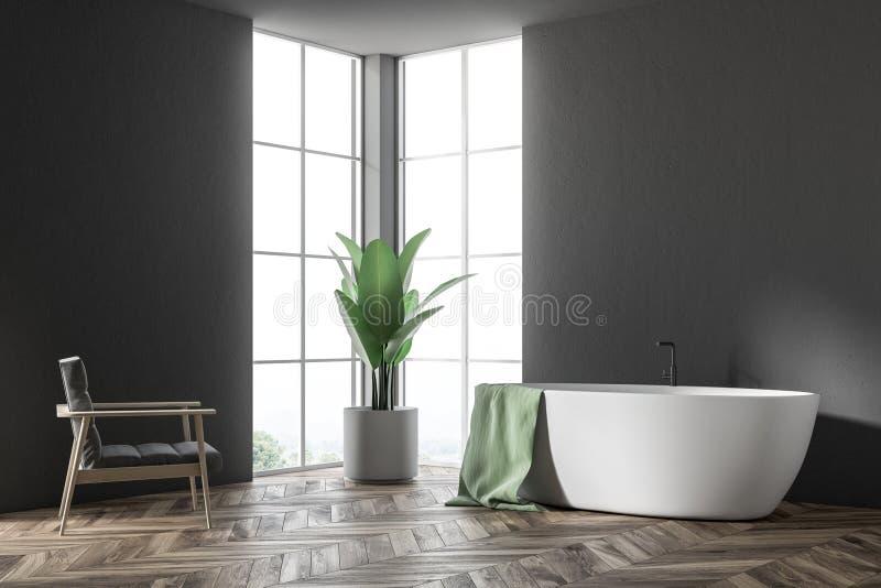 Vit badar i ett svart badrum, fåtöljhörn vektor illustrationer