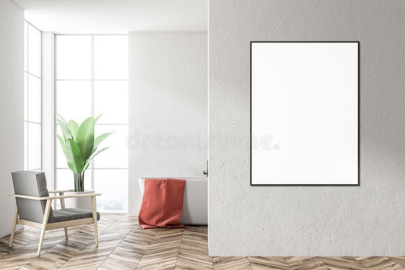 Vit badar i ett vitt badrum, fåtöljen, affisch stock illustrationer