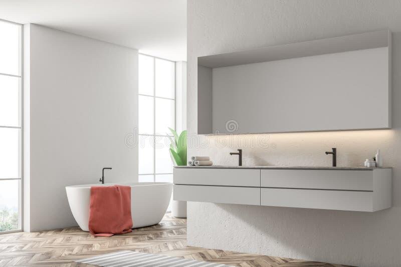 Vit badar i ett vitt badrum, fåtöljen, vasksida royaltyfri illustrationer