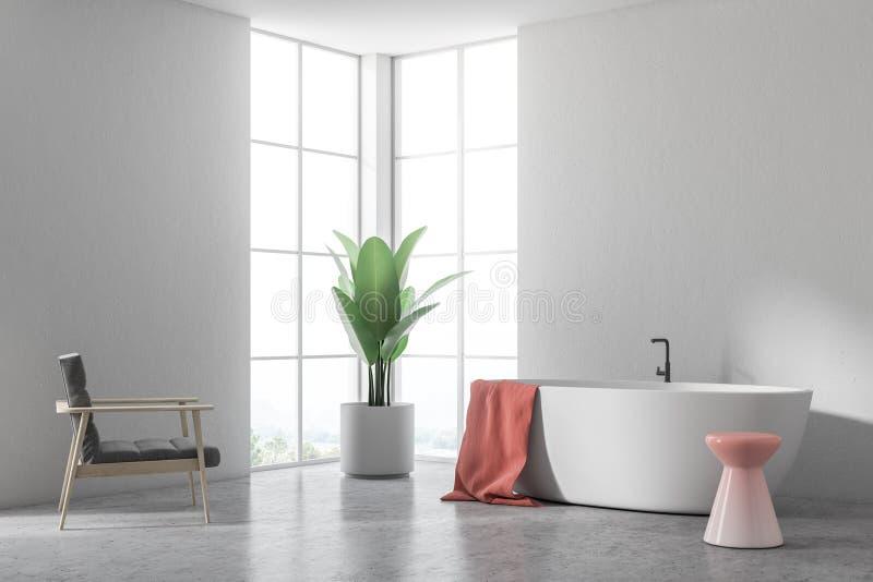 Vit badar i ett vitt badrum, fåtöljhörn stock illustrationer