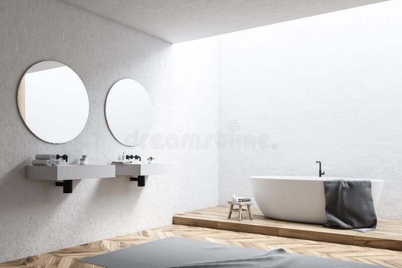 Vit badar i ett vitt badrumhörn stock illustrationer