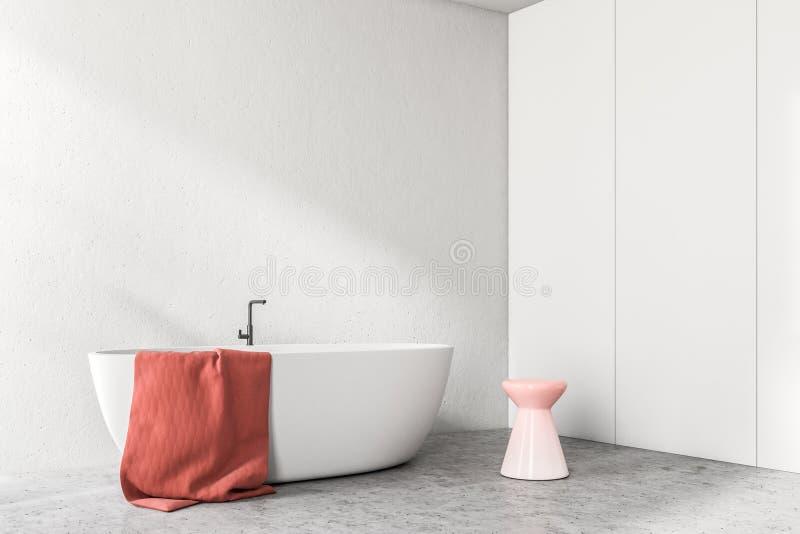 Vit badar i ett vitt badrumhörn royaltyfri illustrationer