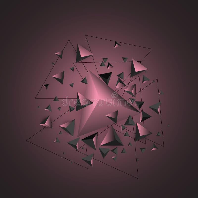 Vit bakgrund Abstrakt sammans?ttning av triangul?ra pyramider Id?rik geometrisk bakgrund stock illustrationer