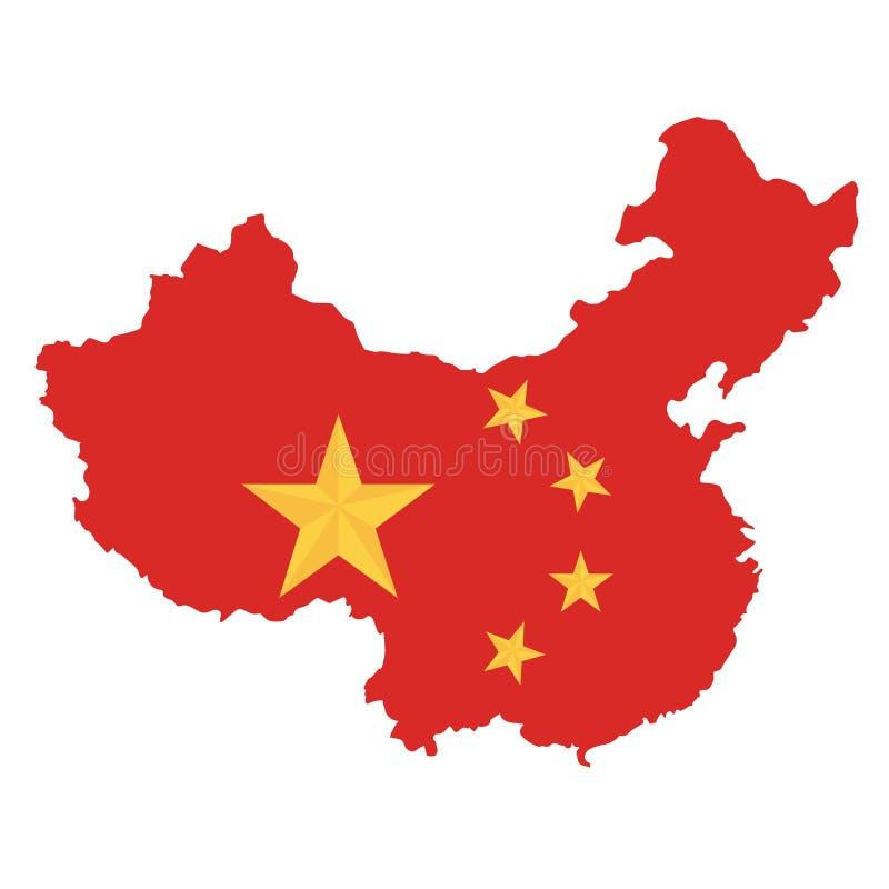 Vit bakgrund för Folkrepubliken Kina översikt stock illustrationer