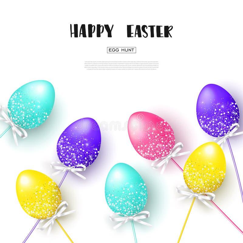 Vit bakgrund för lycklig påsk med färgrika ägg Äggjakt också vektor för coreldrawillustration Designorientering för inbjudan, kor stock illustrationer
