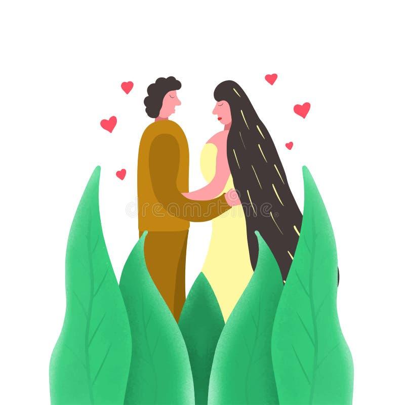 Vit bakgrund för moderiktigt gift par, stor design för några avsikter Id?rik illustration Unga vännygifta personer, bröllop royaltyfri illustrationer