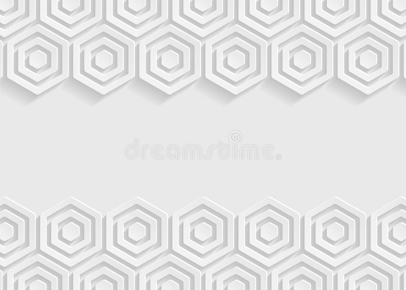 Vit bakgrund för sexhörningspappersabstrakt begrepp royaltyfri illustrationer