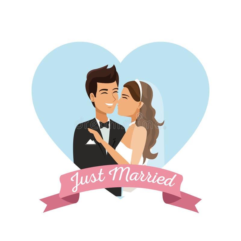 Vit bakgrund med affischen för ram för färghjärtaform av par som att gifta sig precis omfamnat royaltyfri illustrationer