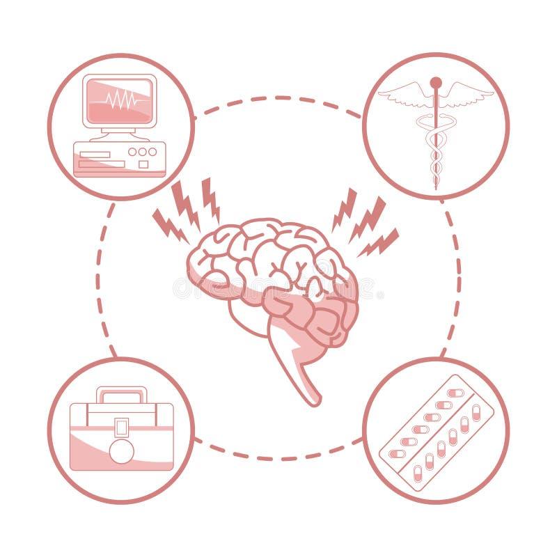 Vit bakgrund med avsnitt för röd färg av konturhjärnorganet med runda vård- rambeståndsdelar stock illustrationer