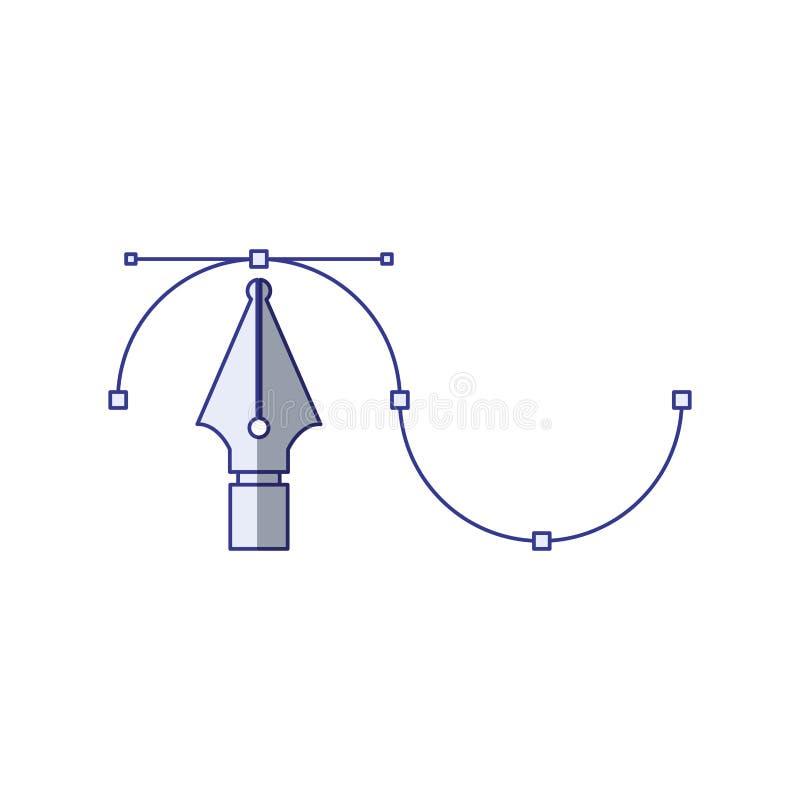 Vit bakgrund med den blåa skuggande konturn av det grafiska hjälpmedlet för reservoarpenna vektor illustrationer