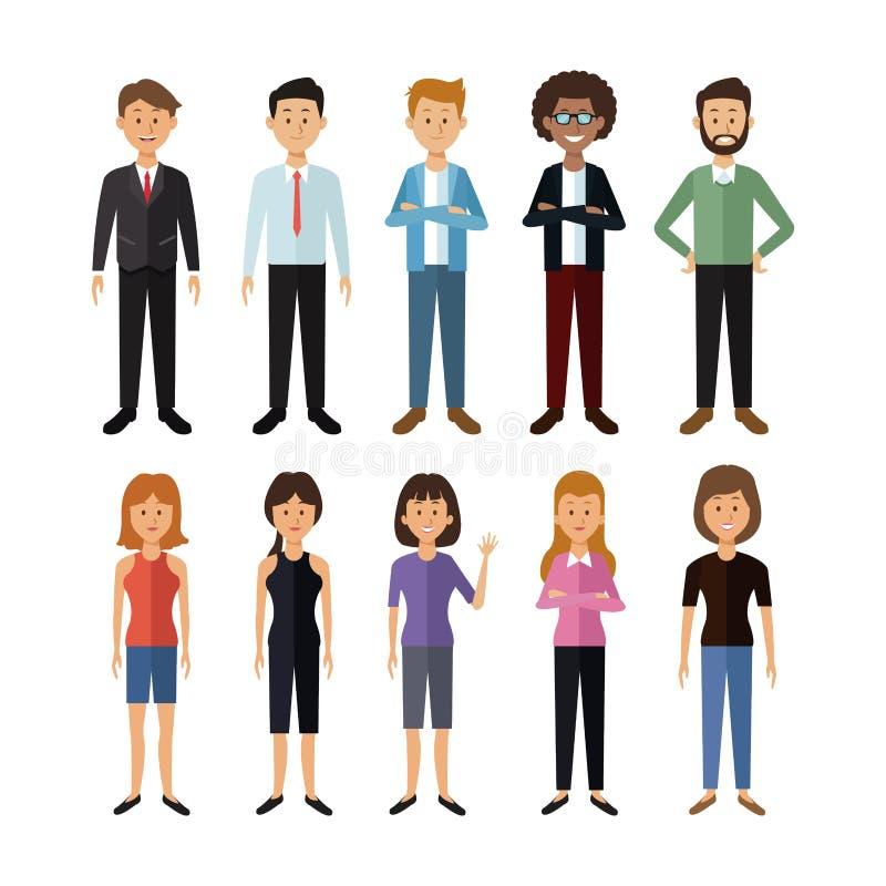 Vit bakgrund med den fulla kroppgruppen av män och kvinnafolk av världen vektor illustrationer