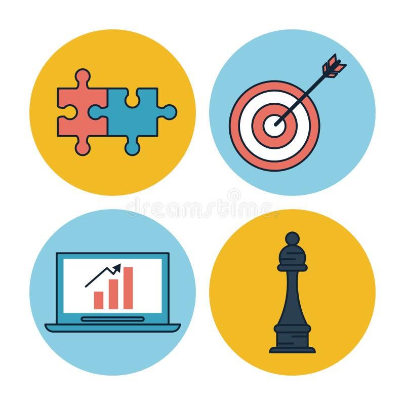 Vit bakgrund med färgrika cirkelramar av symboler för företags affär som pusselstycken och mål med pilen och vektor illustrationer