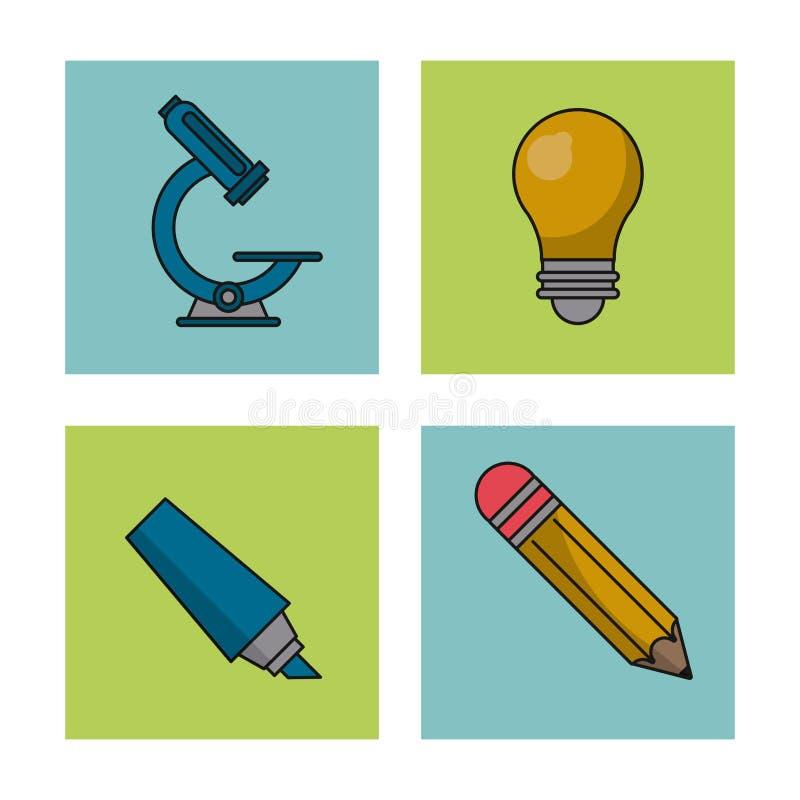 Vit bakgrund med färgrika fyrkanter av utbildningssymboler med mikroskopet och ljus kula och blyertspenna och färgmarkör vektor illustrationer