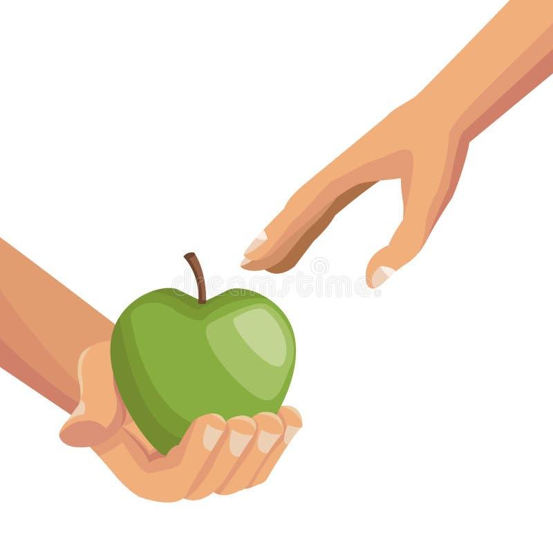 Vit bakgrund med färgrika händer som ger ett äpple, bär frukt till annan gömma i handflatan människan stock illustrationer