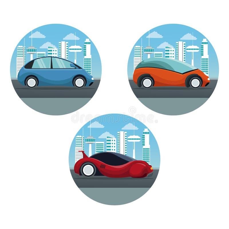Vit bakgrund med futuristiskt stadslandskap för rund ram med den färgrika uppsättningen av sport och moderna bilar inom stock illustrationer