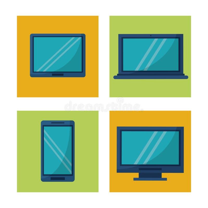 Vit bakgrund med fyrkanten inramar diagram med symboler av minnestavlan och smartphonen för techapparatdator royaltyfri illustrationer