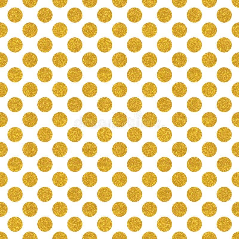 Vit bakgrund med guld blänker prickar vektor illustrationer