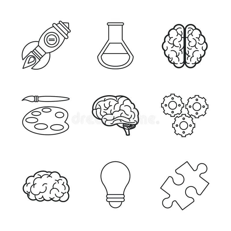 Vit bakgrund med svarta kontursymboler av hjärnan eller idérika meningar stock illustrationer