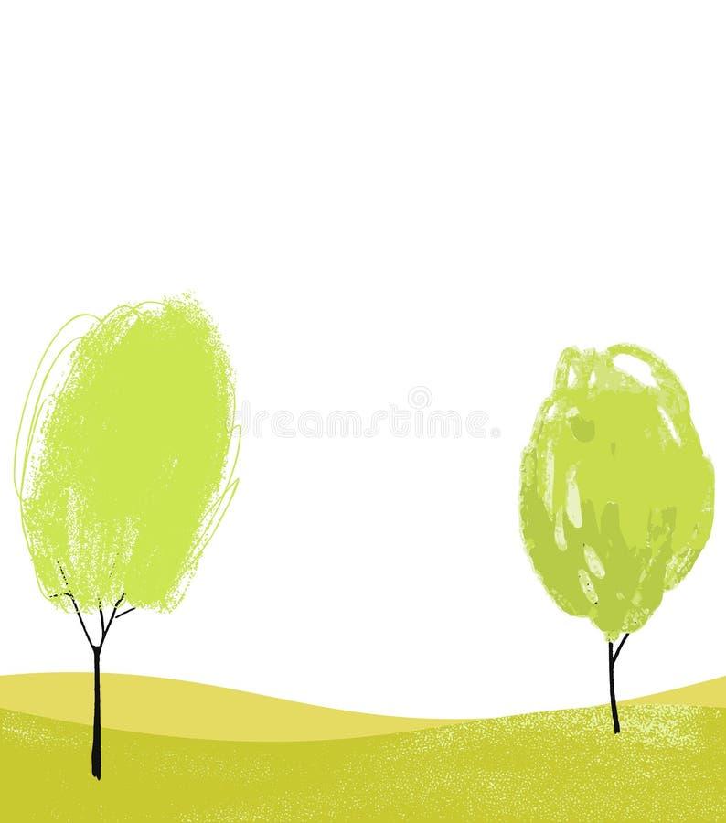 Vit bakgrund med två utdragna träd för hand Eco bakgrund för baner, reklamblad och affischer stock illustrationer