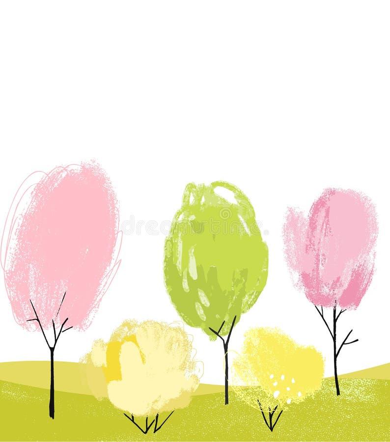 Vit bakgrund med utdragna vårträd för hand Konstnärliga målade växter, blommor och buskar royaltyfri illustrationer