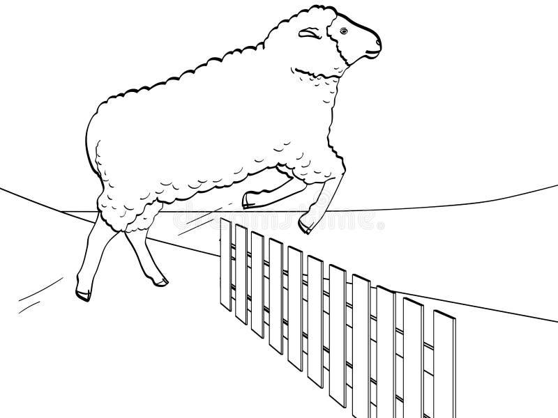 Vit bakgrund, svart fodrar, fåren hoppar över staketet Utbildningsdjur på lantgården vektor royaltyfri illustrationer