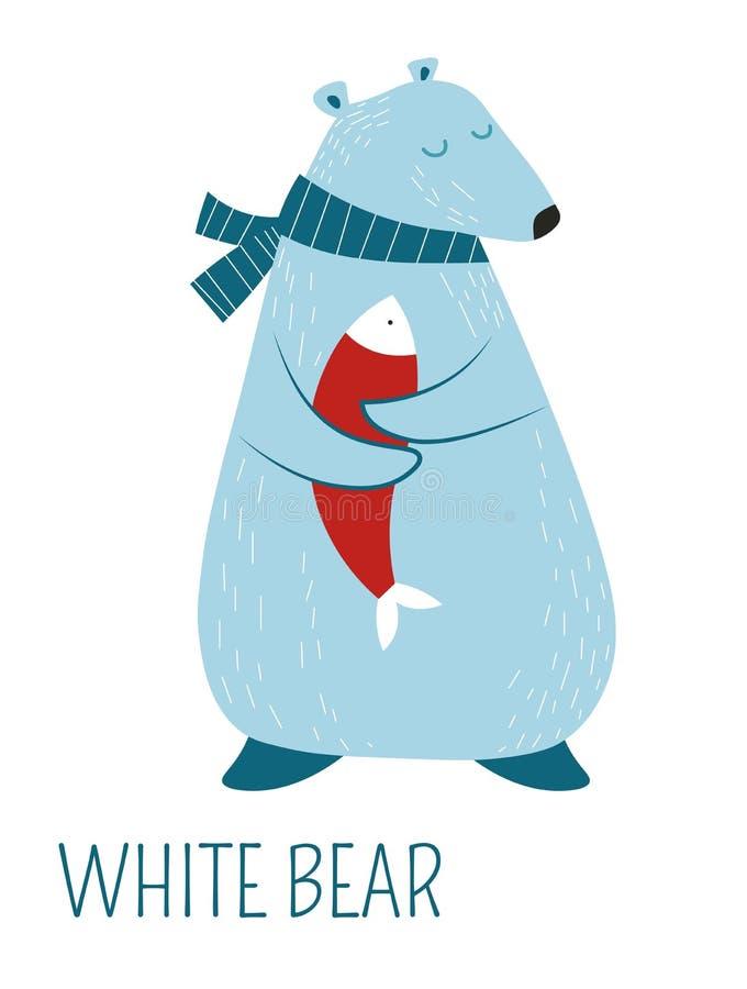 Vit björn i halsduk med fisktecknad filmteckenet royaltyfri illustrationer