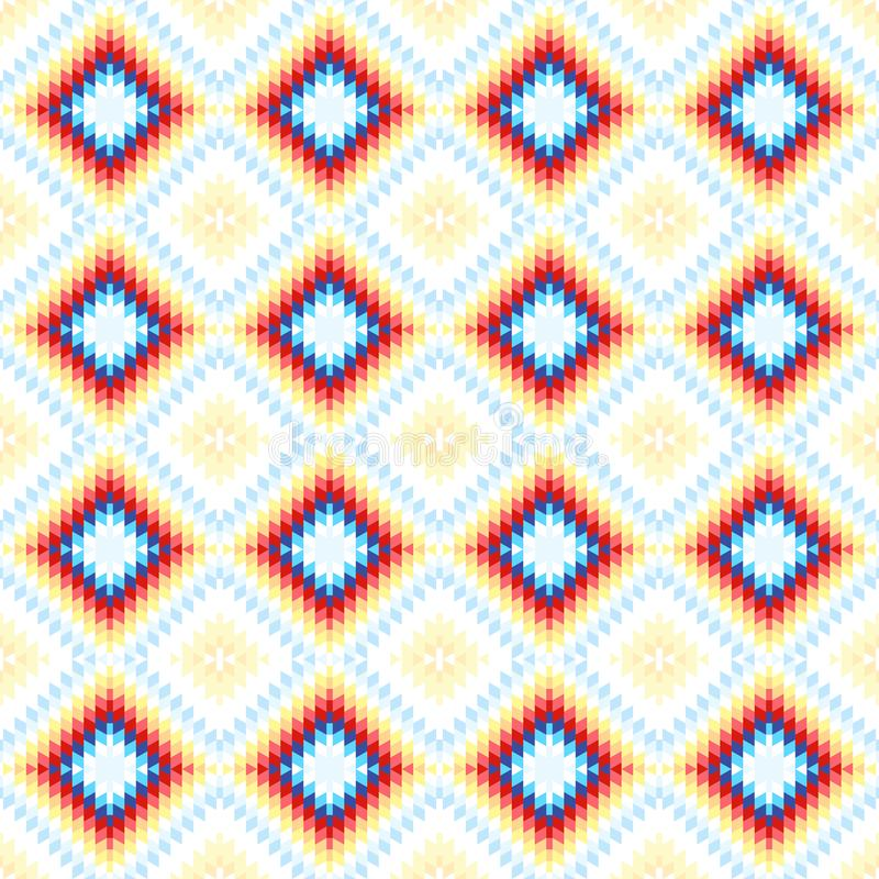 Vit blå rosa apelsin för sömlös matta för modell turkisk Filt för kilim för patchworkmosaik orientalisk med traditionell folk geo royaltyfri illustrationer