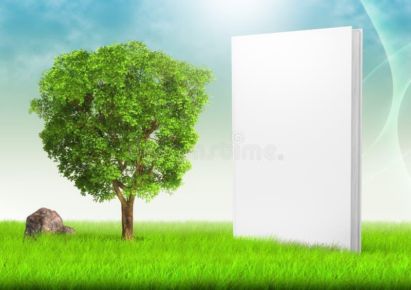 Vit bok och träd i fält av gräs under blått vektor illustrationer
